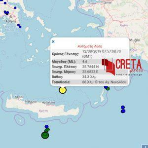 Δυνατός σεισμός μεταξύ Κρήτης και Σαντορίνης