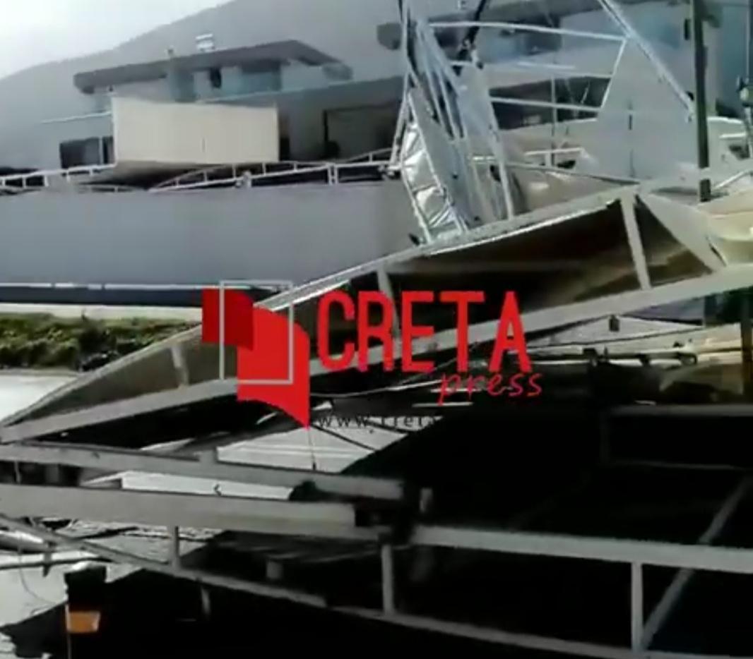 Βίντεο από το στέγαστρο που κατέρρευσε στη Χερσόνησο