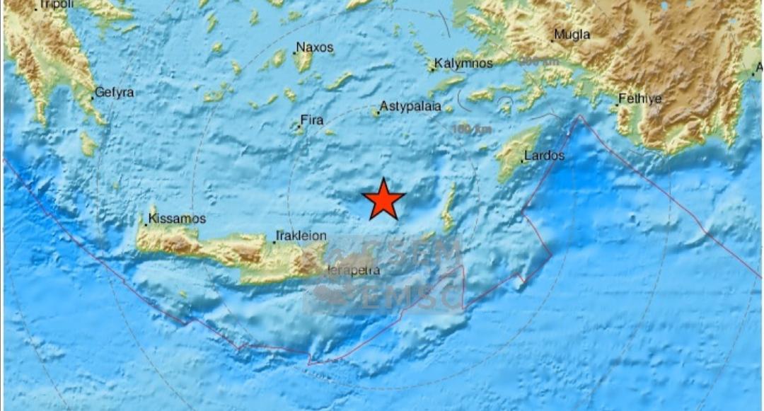 Σεισμός 4,6 ρίχτερ ανατολικά της Κρήτης